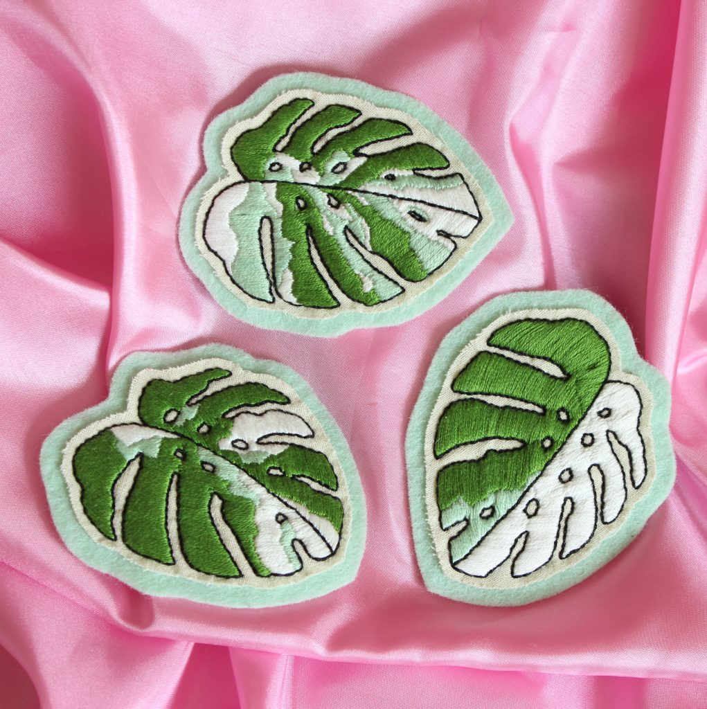 Hand embroidered variegated Monstera patches